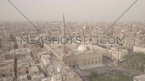 Reveal Shot for El Azhar Senate bulding and Al-Hussein Mosque in Cairo by day