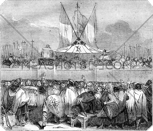 Chapter members public proclamation of Charlemagne, the Champ de Mai, vintage engraved illustration. Magasin Pittoresque 1836.