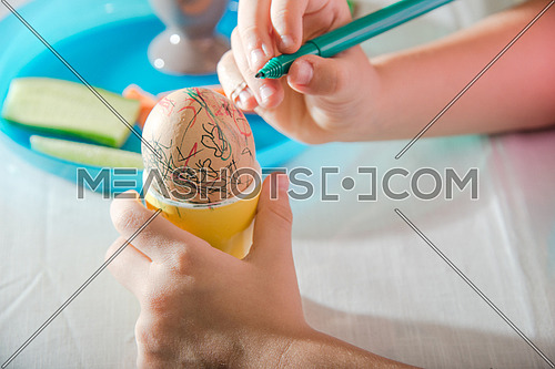 girl hand coloring easter egg