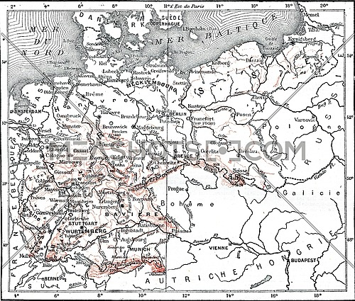 Map of Germany, vintage engraved illustration. Dictionary of words and things - Larive and Fleury - 1895.