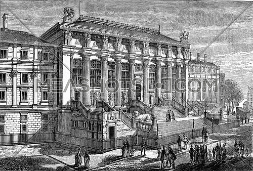 New facade of the Palace of Justice, vintage engraved illustration. Magasin Pittoresque 1877.