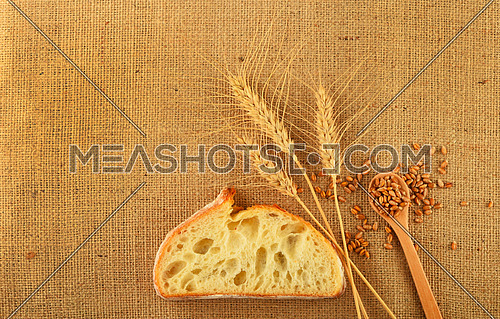 Jute canvas with three wheat ears, slice of white bread and handful of ripe grains, add your text