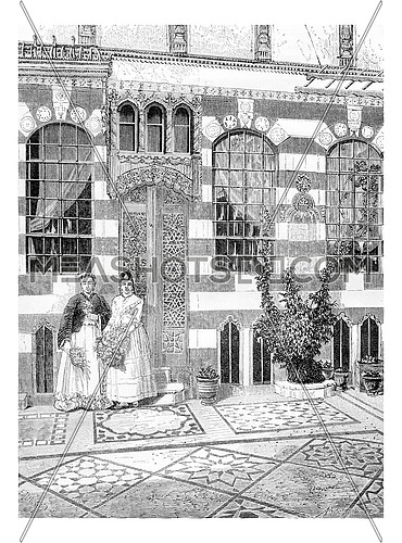 Two Women in a House in Acre, Palestine, vintage engraved illustration. Le Tour du Monde, Travel Journal, 1881