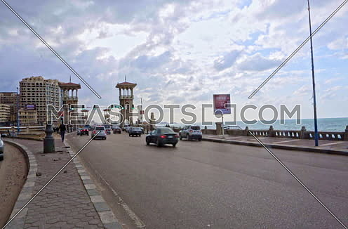 Fixed shot for Stanly Bridge Towers at Alexandria at day