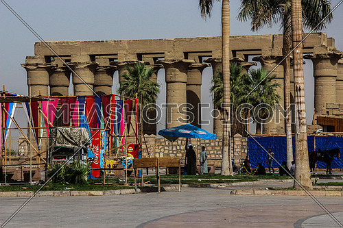 a photo of luxor temple from the outside in luxor city