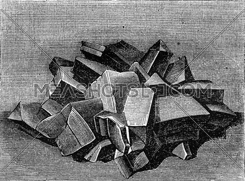 Crystalline form of copper sulfate, vintage engraved illustration. Magasin Pittoresque 1870.