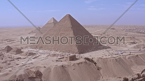 Fly over Shot Drone for The Great Pyramids of Giza at day