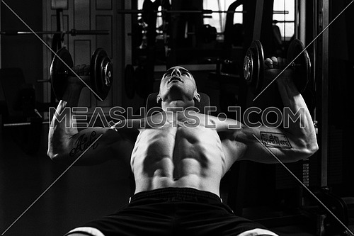 Muscular Man Doing Exercise For Chest With Dumbbells In A Gym