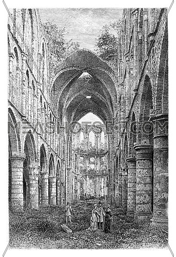 Villers Abbey Ruins in Wallonia, Belgium, drawing by Benoist based on a photograph, vintage illustration. Le Tour du Monde, Travel Journal, 1881