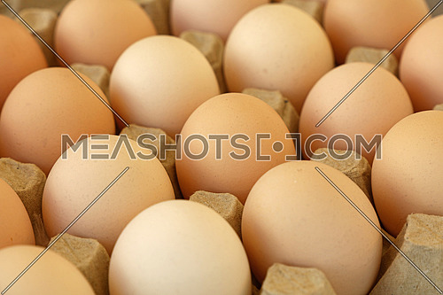 Close up many fresh brown chicken eggs in tray carton at retail display of farmers market, high angle view