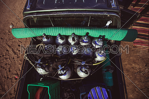 Diving gear in the back of a truck