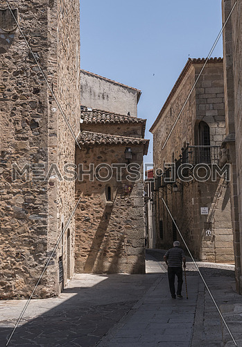Street typical of the old quarter of Caceres, Spain