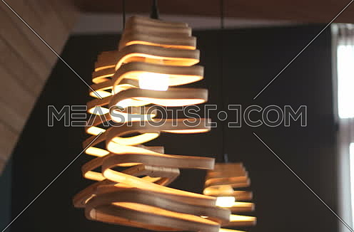 Close shot around modern lamp in beautiful home at day