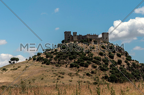Almodovar del Rio, Crdoba, Spain - June 9, 2018: It is a fortitude of Moslem origin, it was a Roman fort and the current building has definitely origin Berber, of the year 760, Between the year 1901 and 1936 was restored by its owner, Rafael Desmaissieres y Farina, XII Count of Torralva, placed close to the Guadalquivir, take in Almodovar of the Rio, Cordoba province, Andalusia, Spain