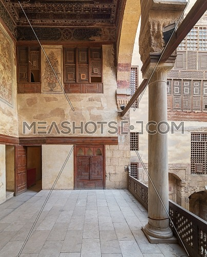 Terrace at ottoman era historic Beit El Set Waseela building (Waseela Hanem House), Old Cairo, Egypt
