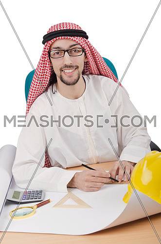 Young arab architect isolated on white