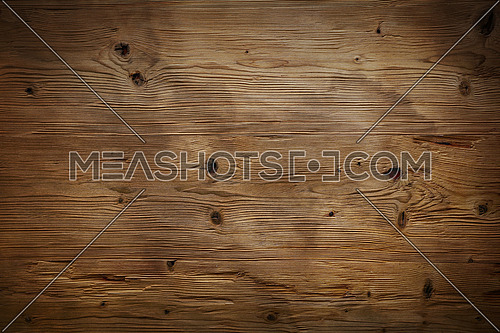 Brushed natural unpainted light knotted brown wooden planks board texture background close up with darker shaded border edges