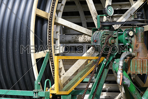 Industrial water hose on reel for use in agriculture detail