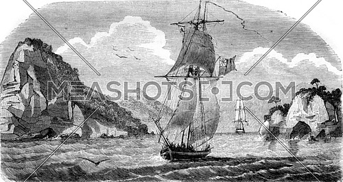 New Zealand, Entry in the Bay Akaroa, vintage engraved illustration. Magasin Pittoresque 1843.