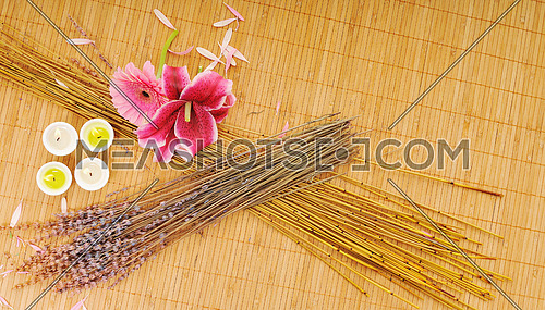 beauty spa and wellness background with flowers decoraiton