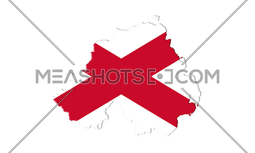 Northern Ireland Flag and Map. Saint Patrick's Saltire Isolated On White Background 3D illustration