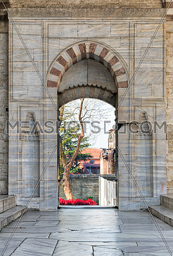 Opened door leading to the court of Blue Mosque (Sultan Ahmed Mosque), Istanbul, Turkey