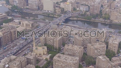 Fly Over  for Al Mohandseen area The River Nile and 15th of May Bridge in 22th of March 2018 in Giza  at day