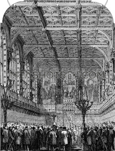 Interior of the House of Lords, Opening session, vintage engraved illustration. Magasin Pittoresque 1853.