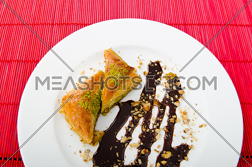 Sweet dessert in the plate