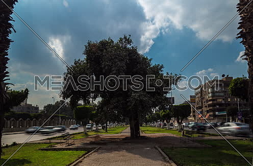 Fixed Shot for a Tree in the middle of Salah Salim Steet showing both sides of street at Daytime