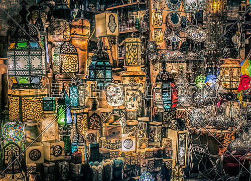 Egyptian Illuminations  Set of Egyptian Old traditional lanterns Lights in khan El khalily Area During Ramadan