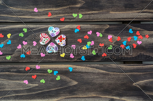 Valentines day hearts concept on wooden table