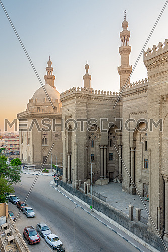 External view of Al Rifai and Sultan Hasan historical mosques from Al Rifai Street, Old Cairo, Egypt