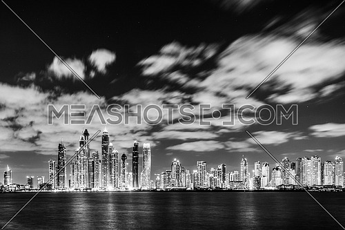 Dubai Sky Line at Night in black and white