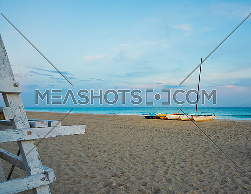 Catamarans at sunset on the Beach in Varadero Cuba