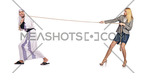 Tug of war concept on white