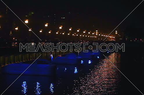 Fixed Side Shot for Qasr Al Nile Bridge at Night