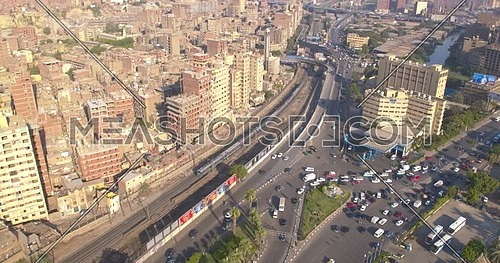 Reveal Shot from Drone for Metro in cairo at day