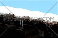 Snow and icicles hanging over the roof's edge against clear blue skies