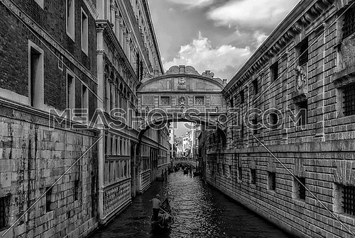 Venezia - Italy water canal in black and white