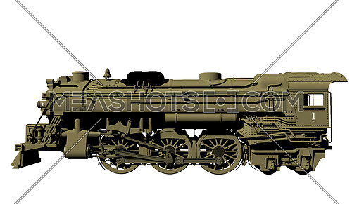 3D side view illustration of a train locomotive
