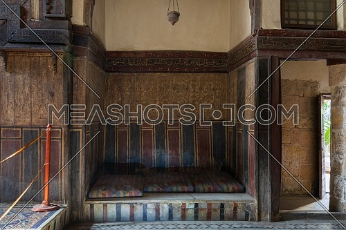Built-in bench (couch) at historical El Sehemy house, an old Ottoman era house located in Gamalia district, Cairo, Egypt, built in 1648