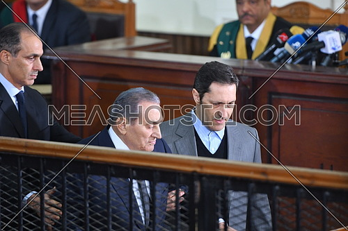 Former Egyptian president Hosni Mubarak testifies in court at 'Borders Break' case - December 2018.