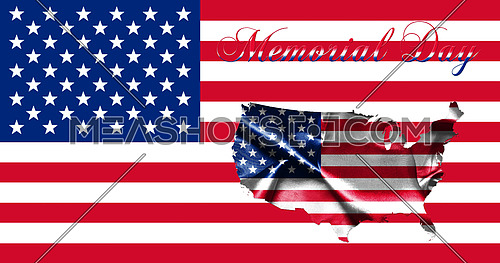 United States of America Memorial Day.Flag With Map of America and Text 3D illustration