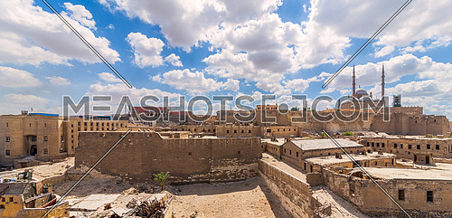 Day panoramic view of Cairo Citadel Square, including The great Mosque of Muhammad Ali Pasha, Citadel prison, and Egyptian National Archive Building, Old Cairo, Egypt