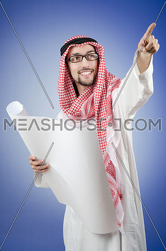 Arab engineer with drawings