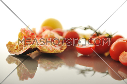 fresh fruits and vegetables isolated on white with glossy surface reflection