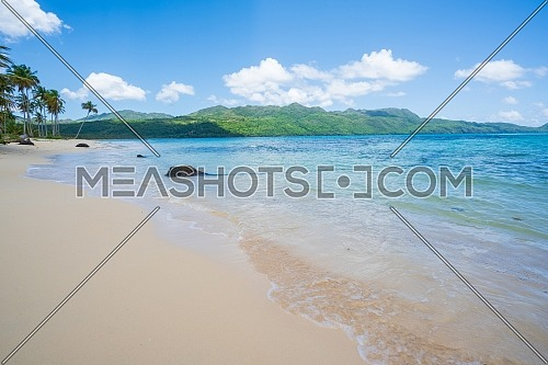 Awesome tropical white sandy beach in Rincon, sunny day in Samana peninsula,Dominican Republic
