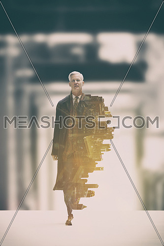 Double exposure of senior businessman in big hall