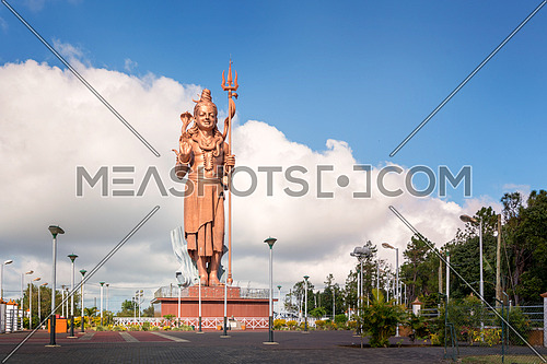 Huge and awesome Shiva statue,near grand Bassin temple in Mauritius island.